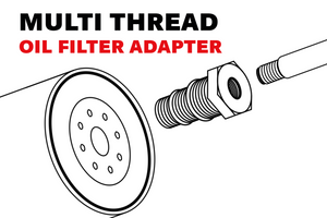 Oil Filter Multi Adapter - Supports Oil Filters Threaded For 3/4-16 , 13/16  , 16.3/4NPT
