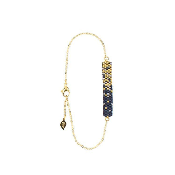 Gold and Navy Beaded Bracelet | This is Eden Jewelry