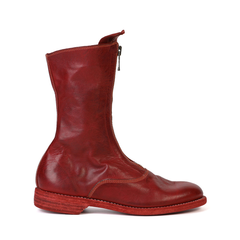 Guidi - Red Leather Mid-calf Length Boots