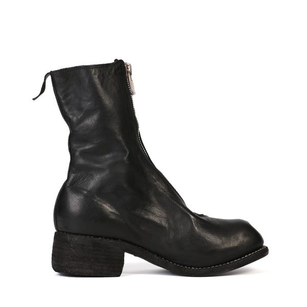 Guidi - Black Leather Front Zip Ankle Boot