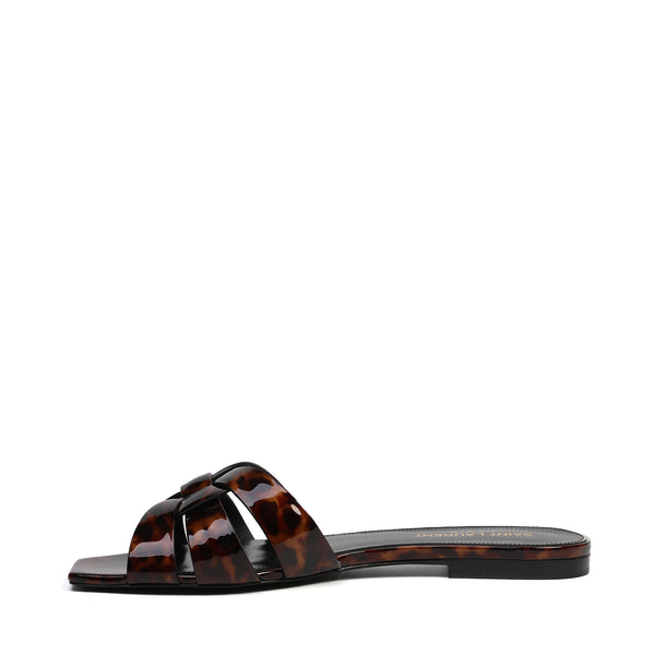 [LOWEST PRICE] - Saint Laurent - Tribute Flat Sandals in Tortoiseshell Patent Leather