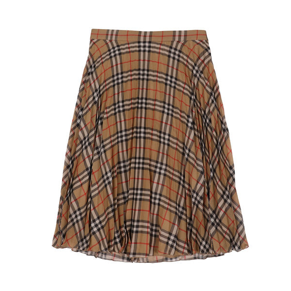 Burberry Vintage Check Chiffon Pleated Skirt