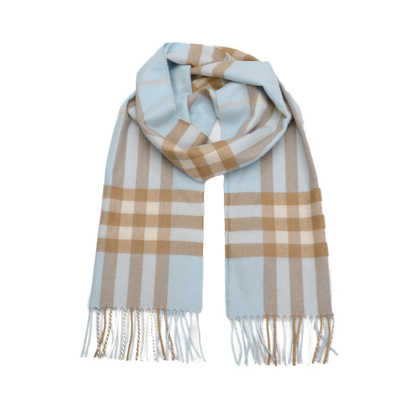The Classic Check Cashmere Scarf in Blue
