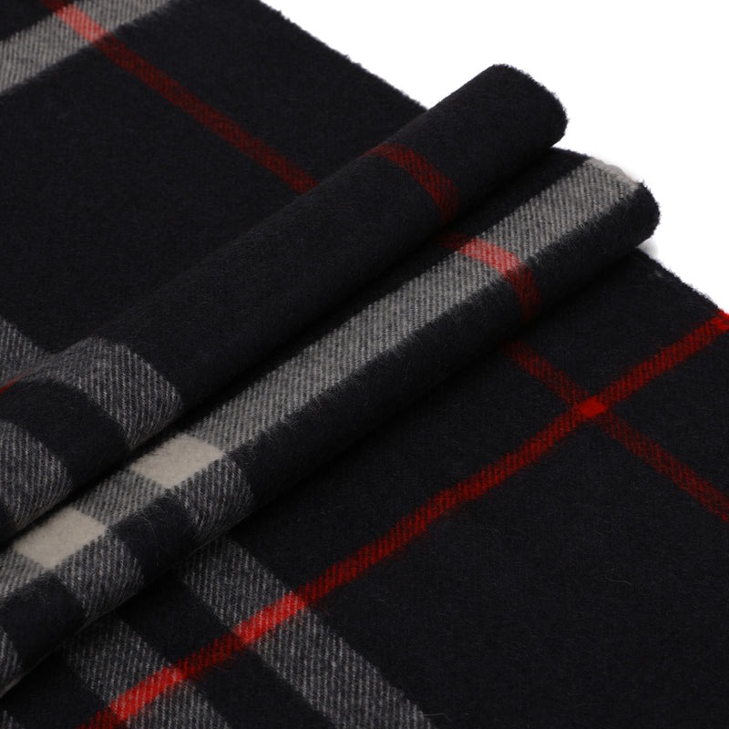 Burberry - Fringed Check Scarf in Navy
