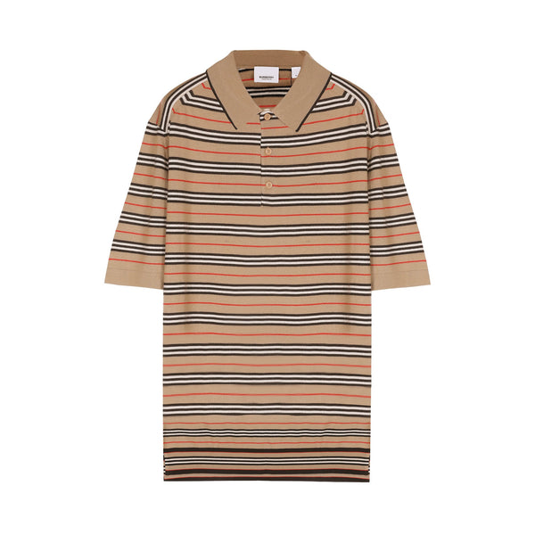 Burberry Stripe Knit Polo Shirt