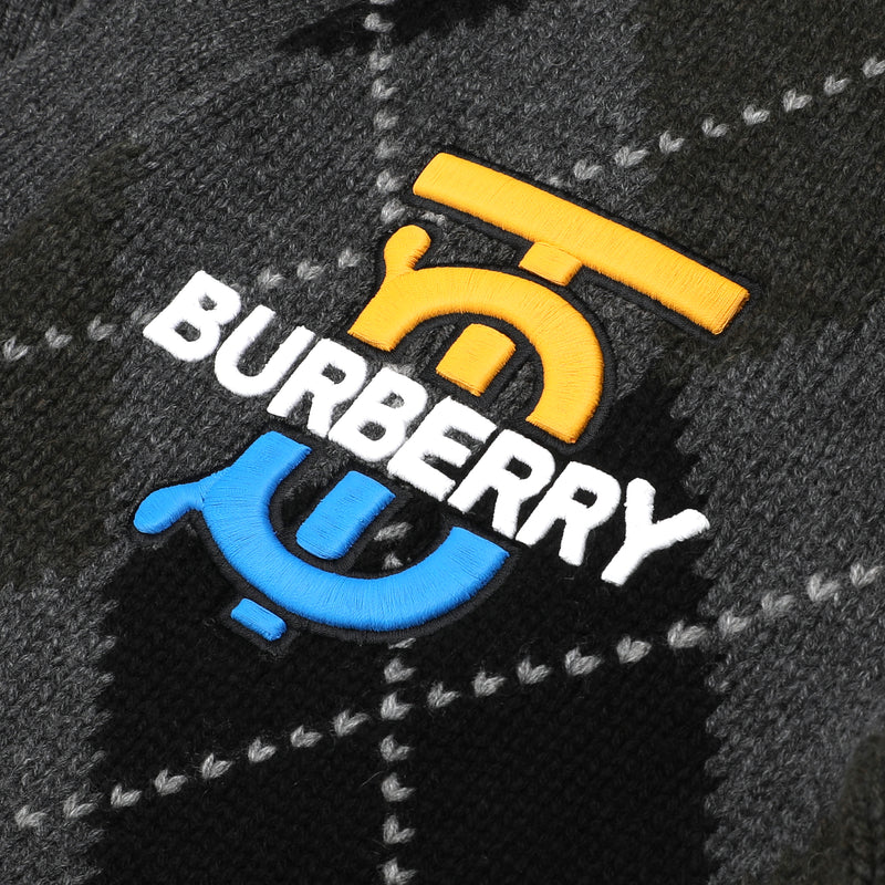 Burberry - Embroidered logo argyle cardigan