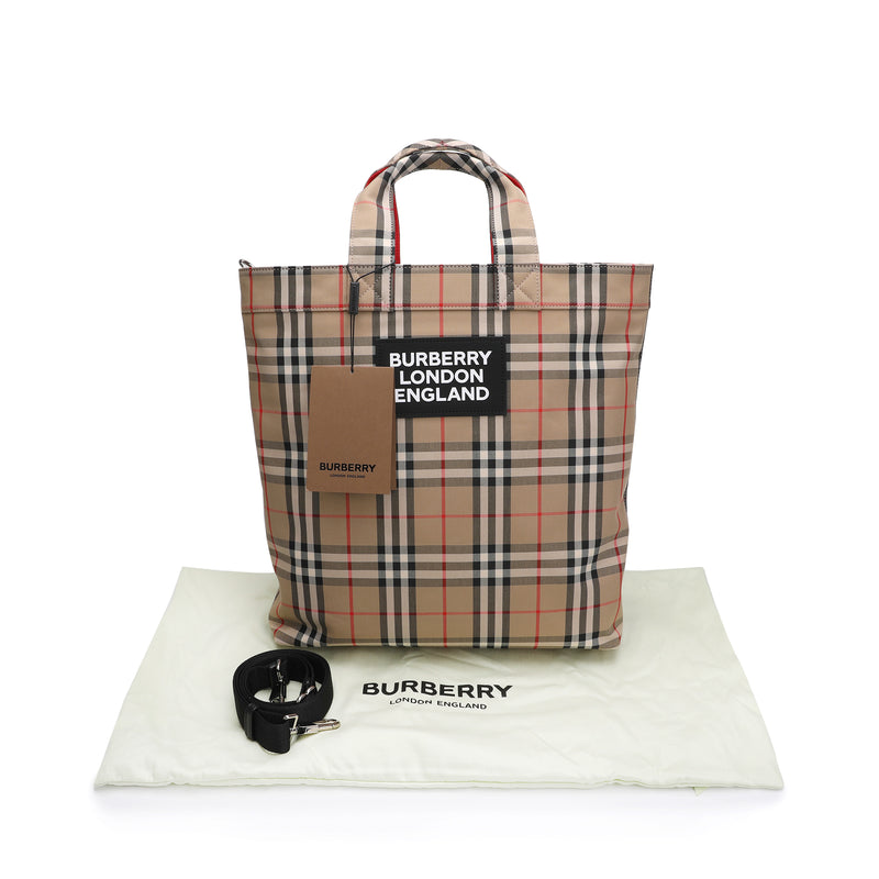Burberry - Logo Applique Vintage Check Cotton Blend Tote