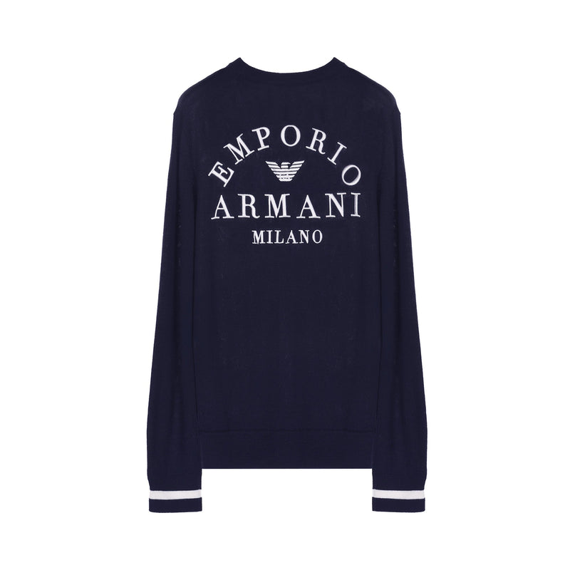 Emporio Armani Logo-embroidered Wool-blend Jumper