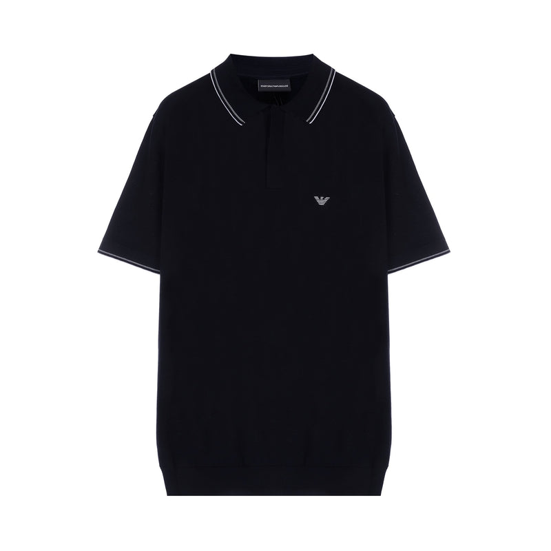 Emporio Armani Ribbed hem eagle logo polo shirt