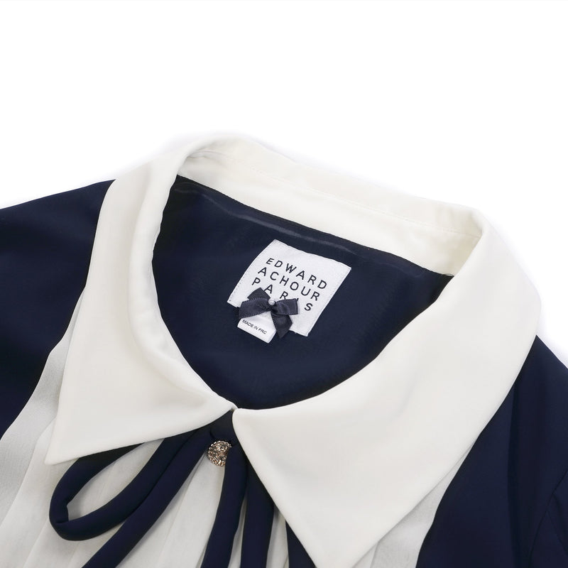 Edward Achour Blue and White Drape Detail Blouse