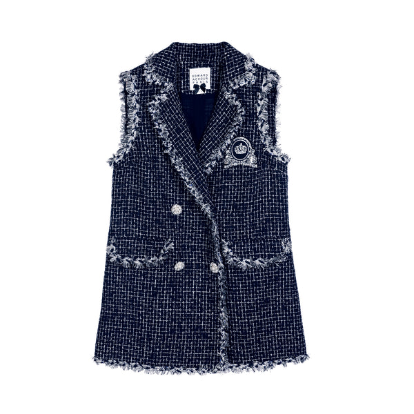 Edward Achour Long Sleeveless Tweed Gilet