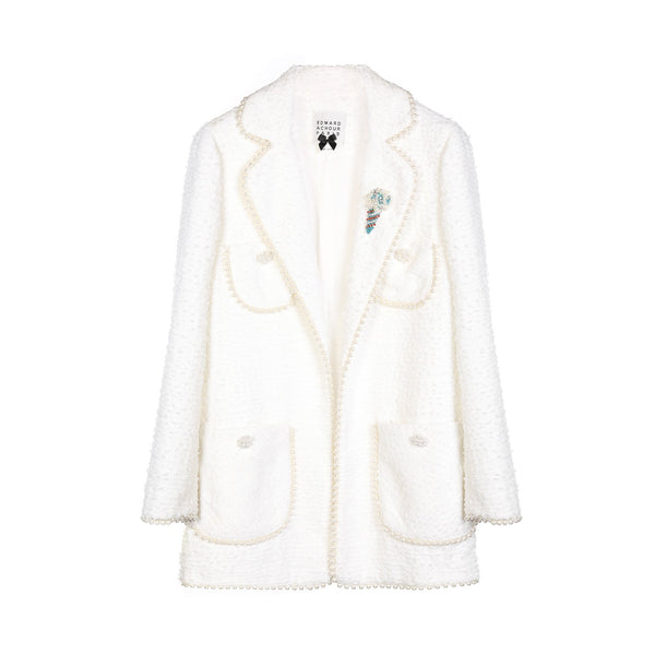 Edward Achour White Pearl Tweed Jacket