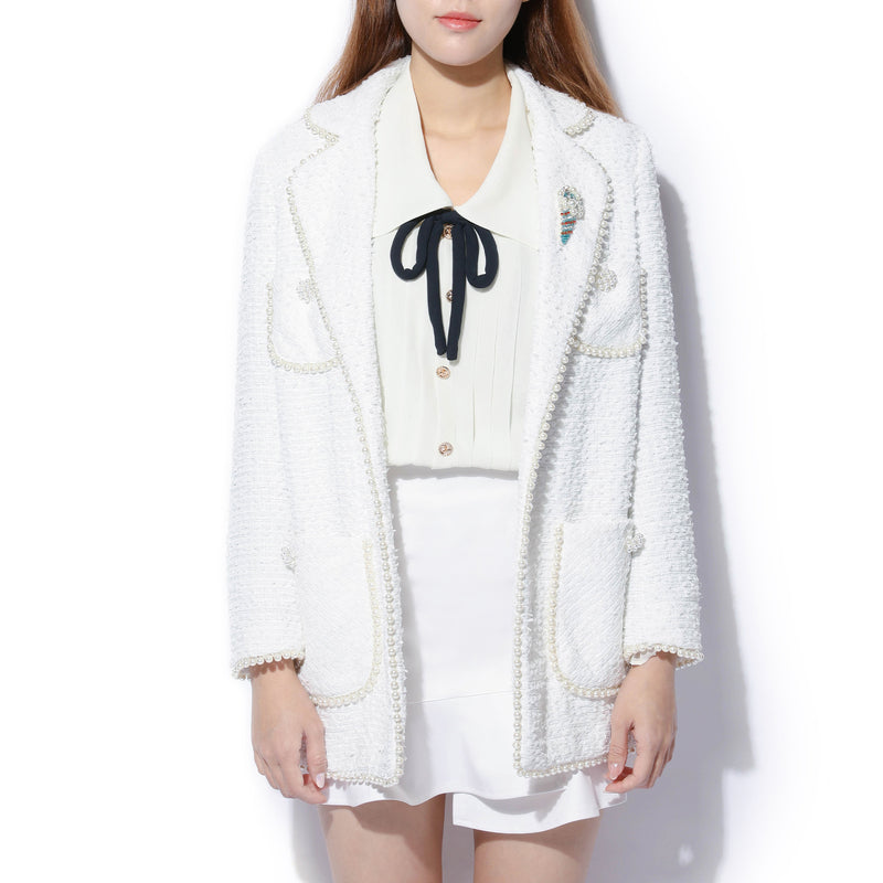 Edward Achour - White Pearl Tweed Jacket