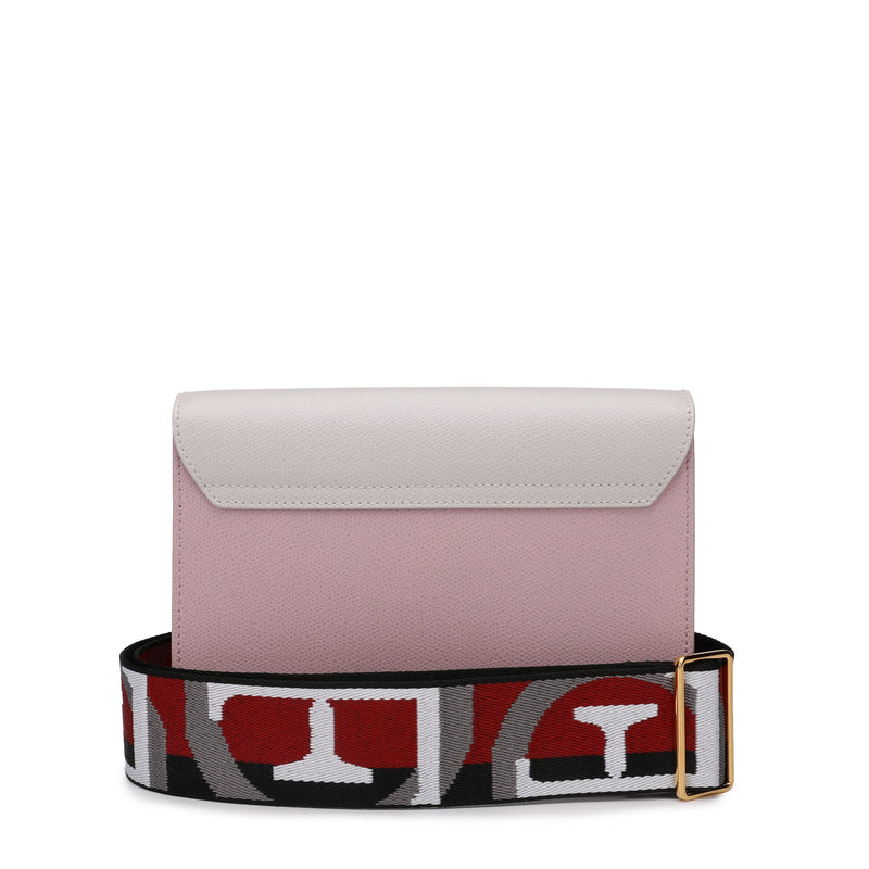 Metropolis Brava Crossbody S in Textured Leather with Logo Ribbon Fabric Shoulder Strap