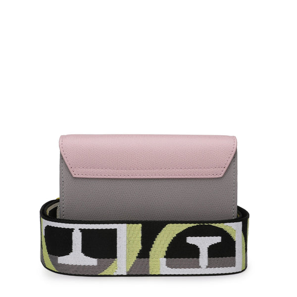 Furla - Metropolis Brava Mini Crossbody Bag in Textured Leather with Logo Ribbon Fabric Shoulder Strap