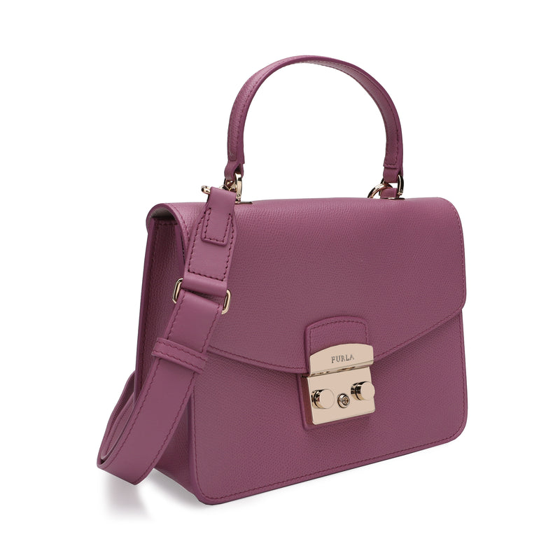 Metropolis Top Handle Bag S in Textured Leather