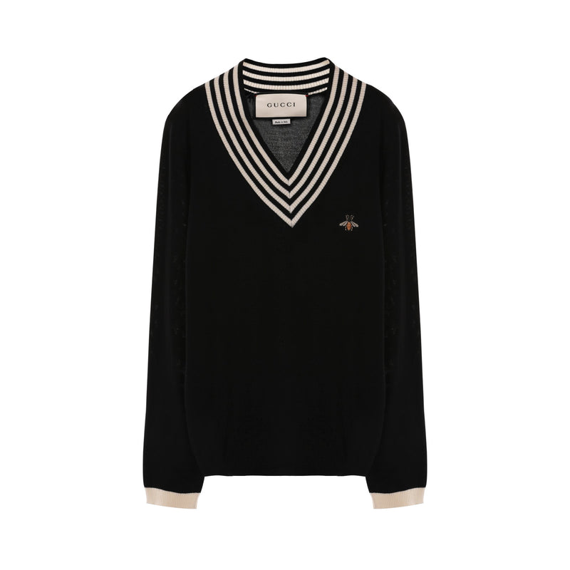 Gucci V Neck Wool Knit with Bee
