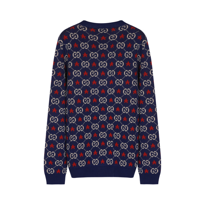 Logo-intarsia cotton-knit jumper