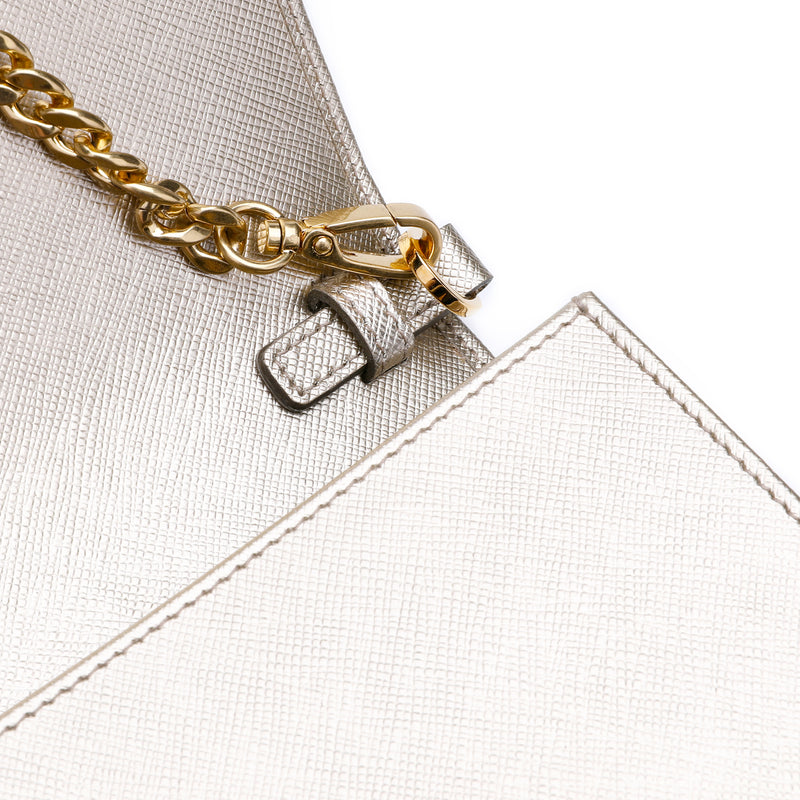Saffiano Logo Plaque Clutch
