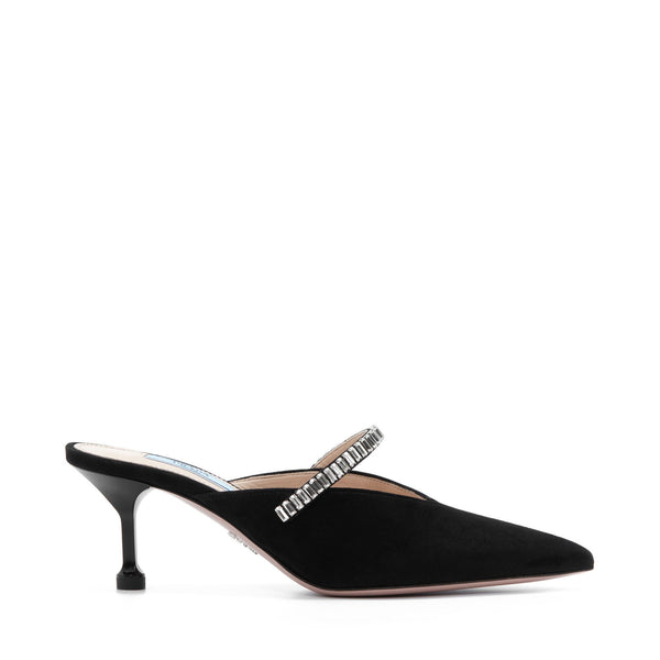 Prada Suede Mules with Crystals