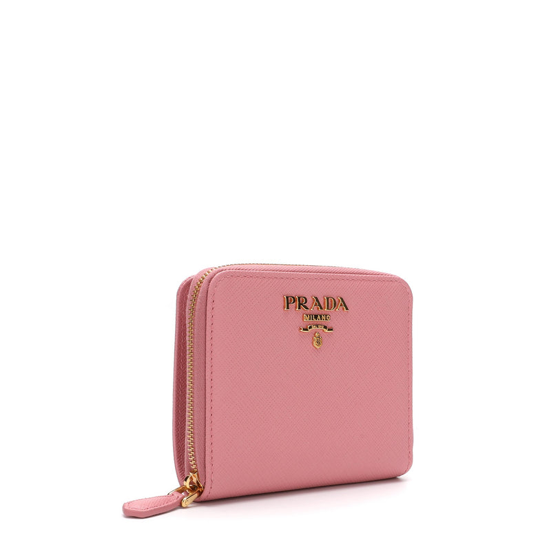 Prada Logo Plaque Zipped Wallet