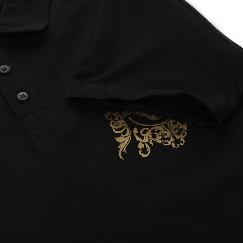 Gold VJ Logo Print on Chest Polo Shirt