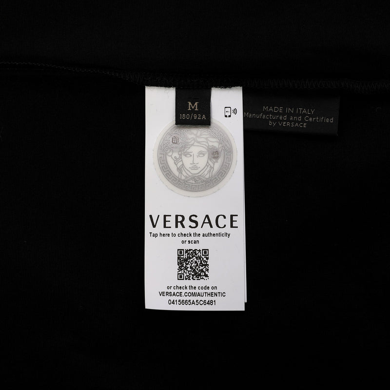 Versace Logo Check Print Cotton T-shirt