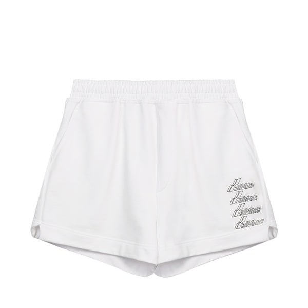 We11done - Metallic logo print shorts