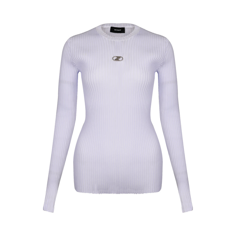 Logo Embroidered Ribbed Top