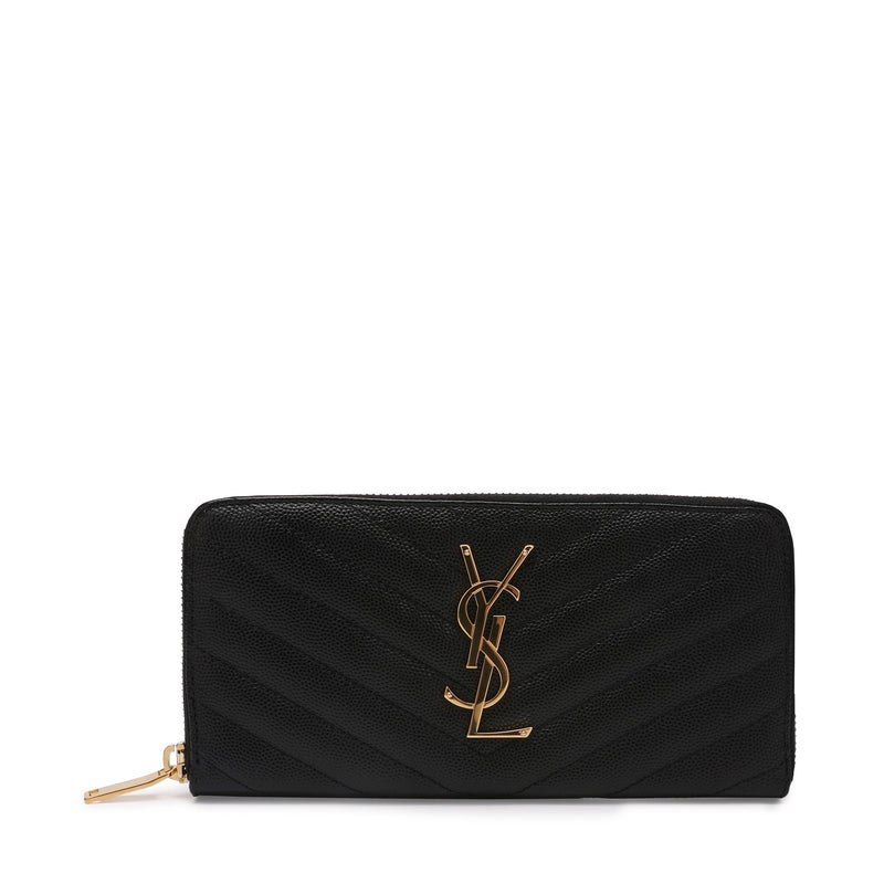 Saint Laurent Monogram Zip Around Wallet in Grain de Poudre Embossed Leather