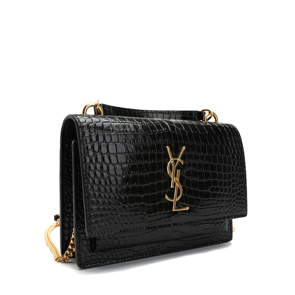 Saint Laurent - Sunset chain wallet in crocodile-embossed leather