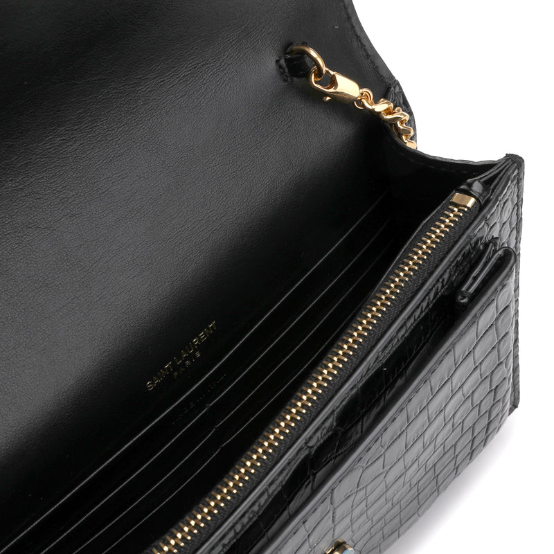 Sunset chain wallet in crocodile-embossed leather