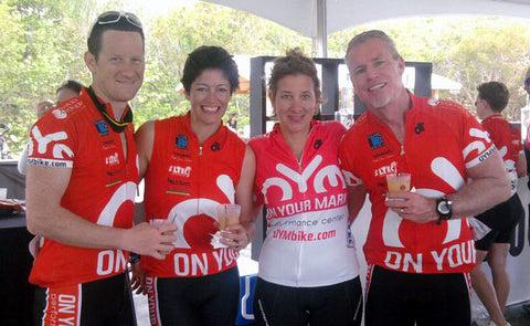 Matt, Julie, Lorie and Charlie cool down after rolling into Key Largo on day 1 of the MS150