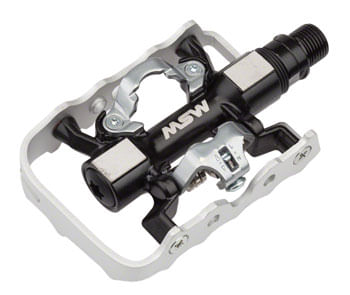 "MSW CP-200 Pedals - Single Side Clipless with Platform , Aluminum , 9/16"", Black/Silver"