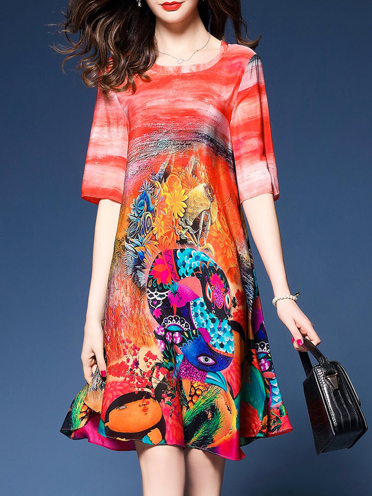 2b61eda1247  37.50. No reviews. Women Multicolor A-line Daytime Casual Half Sleeve  Printed Abstract Dress