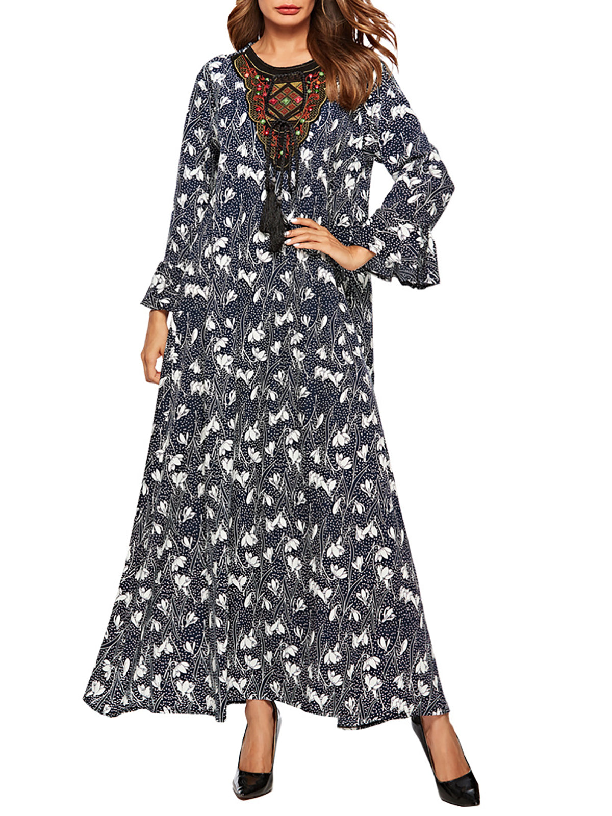 098669bf4f979d letlazy Casual Dresses Long Sleeve Floral Dresses Casual A-Line Crew ...