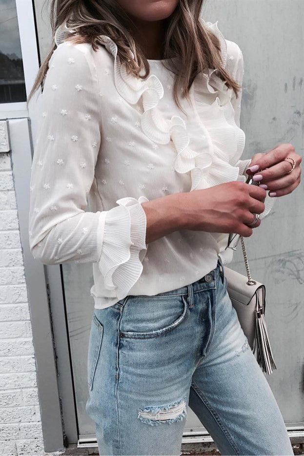 stylish white floral top