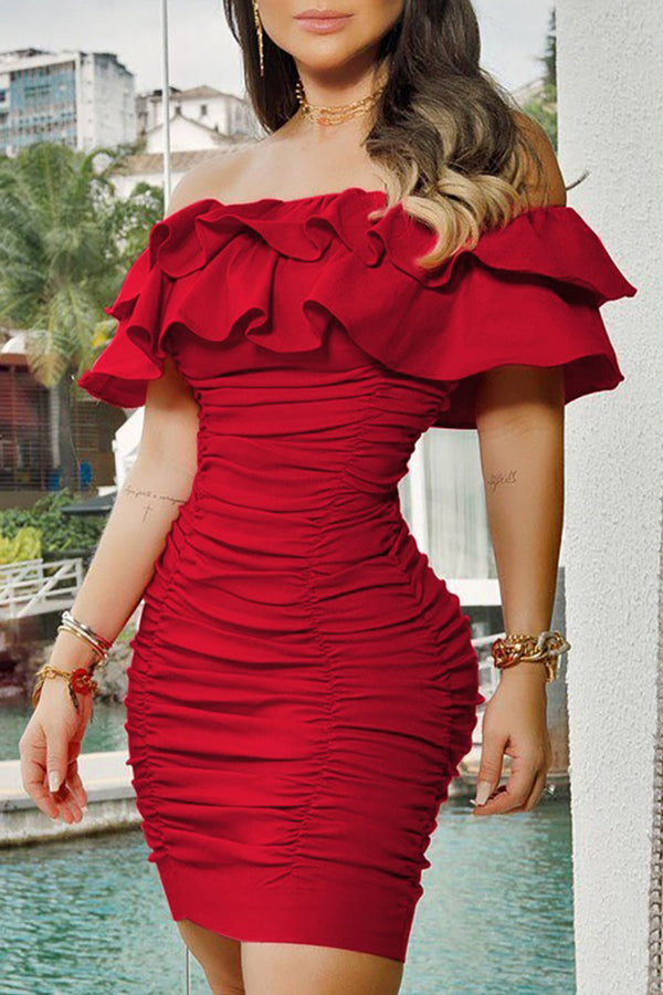 Ruched Ruffles Bodycon Dress