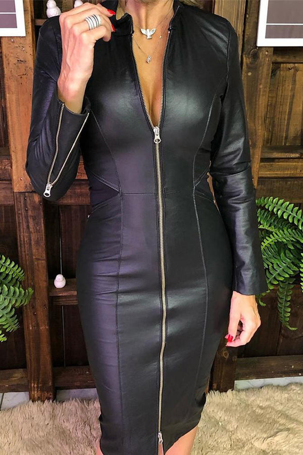 Zipper Design PU Bodycon Dress