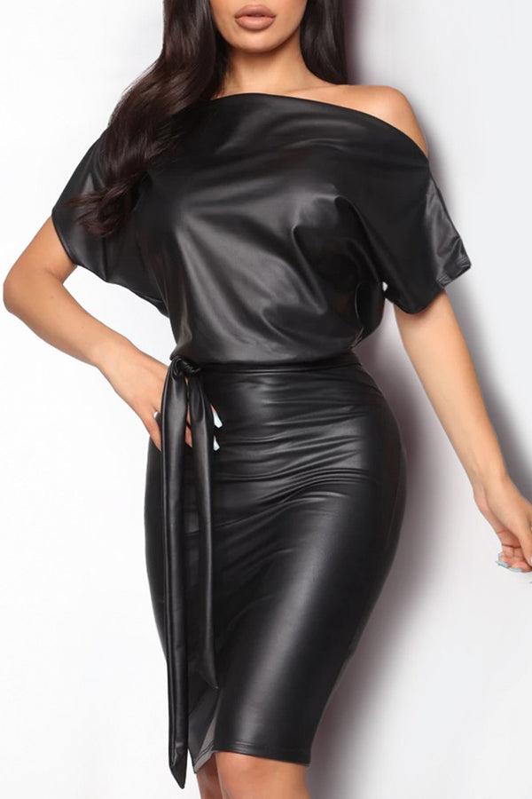 Skew Neck Bodycon Dress