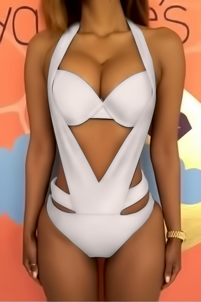 Halter Cut Out Backless Swimsuit