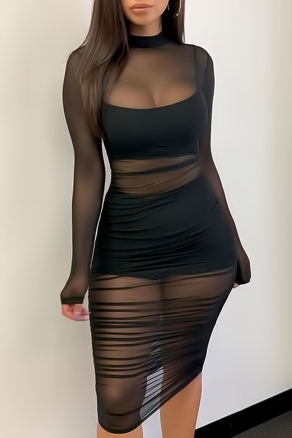Mesh Ruched Dress With Lining