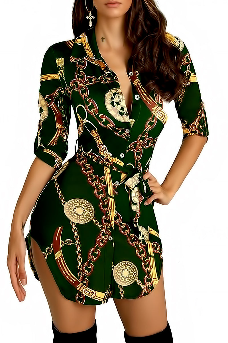 Chains Print Shirt Dress