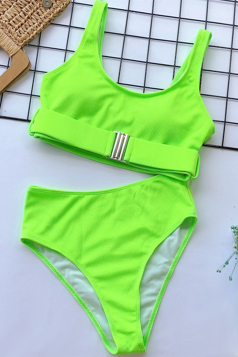 Ribbed Buckle Bikini Set