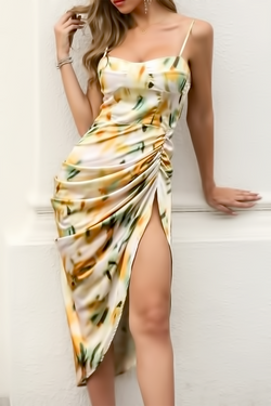 Abstract Print Ruched Dress