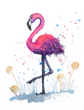 Load image into Gallery viewer, Flamingo Print Mounted