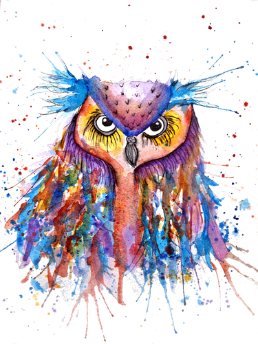 Purple Owl Greeting Card