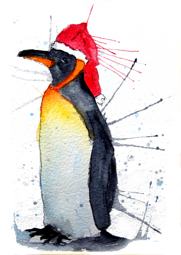 Festive Penguin Greeting Card