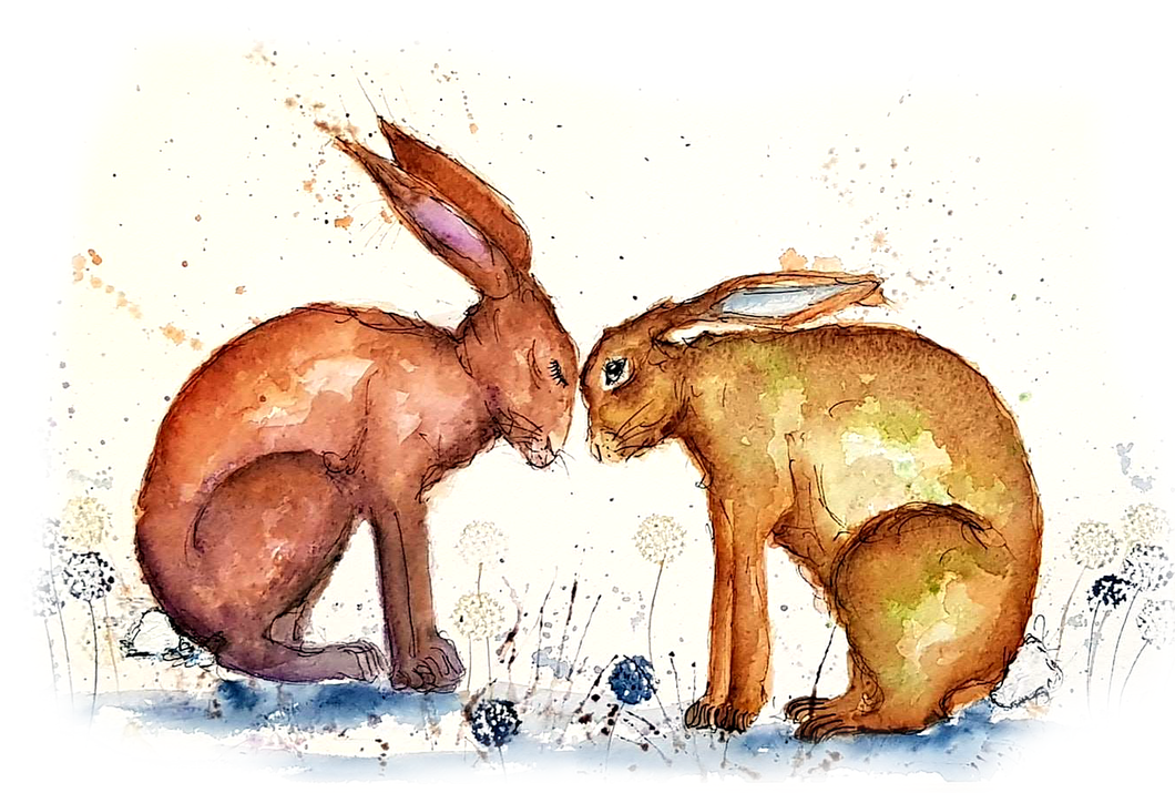 Kissing Hares Greeting Card