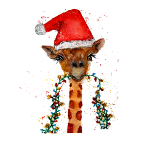 Santa Giraffe Greeting Card